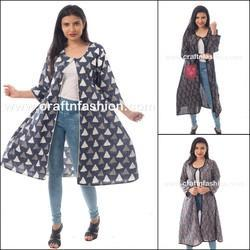 Full Sleeve Leaf Printed Cotton Latest Designer Boho Style Women's Long Jacket