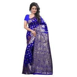 Blue And Silver Wedding Wear Banarasi Silk Saree, With Blouse Piece