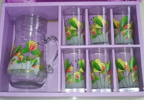 Flower Printed Drinking Glass Set, for Home