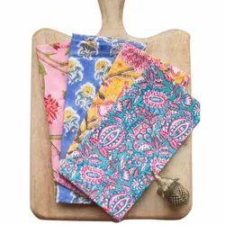 Printed Multicolor Hand Block Print Cotton Napkin, Size: 16x16 inches