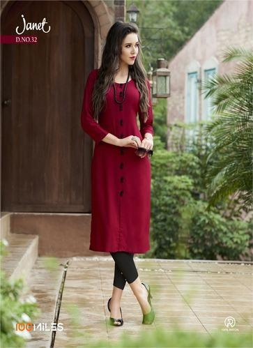 06969fc2c6 100 Miles Janet Vol 5 Rayon Slub Long Kurtis at Rs 441 /piece ...