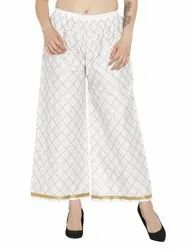 Ladies Chikan Embroidery Palazzo Pants