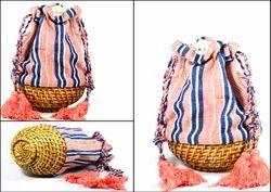 Hand Straw bag, Decorated straw bag  UNIQUE PIECE