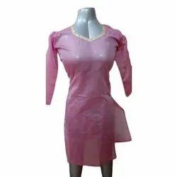 3/4th Sleeve Ladies Banarasi Silk Plain Designer Kurti, Size: S-XL