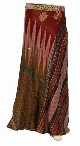Long Wrap Skirt  Silk sari Wrap Skirt Women Silk Sari Dress 38 Inch Skirts