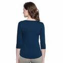 Women 100% Cotton Solid Blue Henley T-shirt