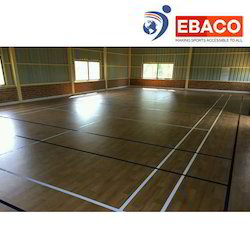 Ebaco Brown Wooden Flooring Volleyball Court, Warranty: 7 Years, Thickness: 73 Mm