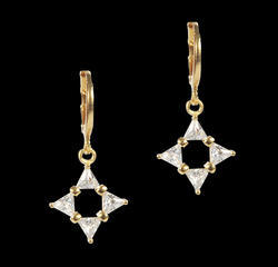 Sparkling Star Brass Drop Earring