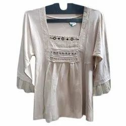 Cotton And Also Available In Rayon 3/4th Sleeves Ladies Western Top