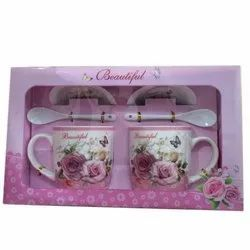 Fiber And Plastic Pink Two Cup Plate Gift Set, for Gifting
