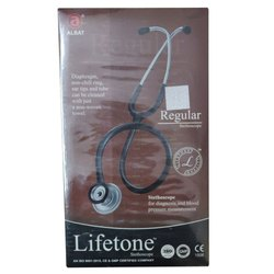 Single Sided Life Tone Regular Stethoscope, Aluminium, Black