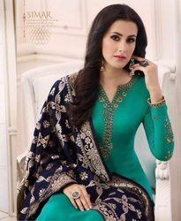 Glossy Shabana Georgette Salwar Suits With Banarasi Dupatta