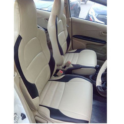 White and Black Honda Amaze Car Leather Seat Cover