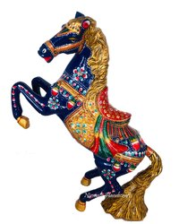 Metal Meenakari Dancing Horse Statue Enamel Work Figurine