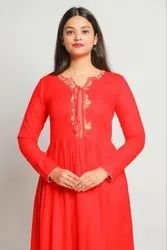 Embroidered Tussel Neck Gathered Kurta
