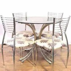 Stainless Steel Mirror Finish Modular Round SS Dining Table Set