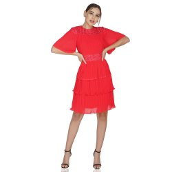 Attic Alt Girl Evening Wear Pleated, Tiered, Embroidery Dress