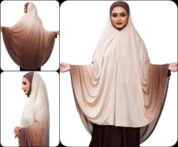 Stitched 2 Shade Instant Arabic Makhna Chaderi Hijab Abaya Dress