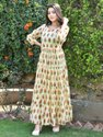 Cotton Printed Tyre Pattern Beautiful Gown With Lace On Neck