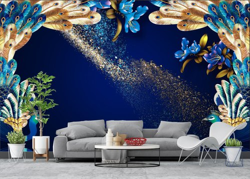 Pvc Matt Finish 3d Living Room Peacock Wallpaper For Decoration Rs 95 Square Feet Id 22447492897