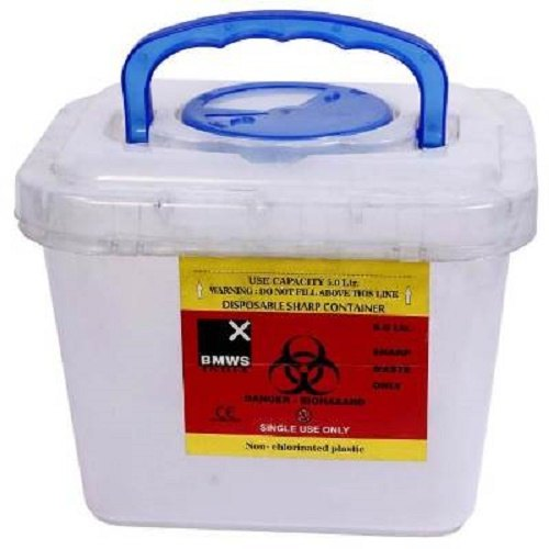Puncture Resistant Sharp Objects Waste Container 5 Litre For Hospitals