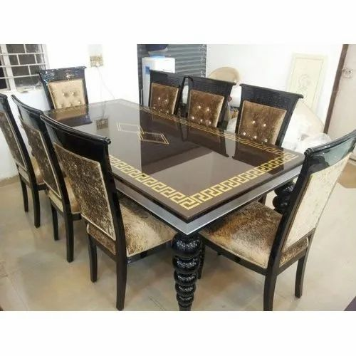 8 Seater Wooden Dining Table Set, Dining Room Set For 8