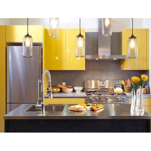 Residential Laminated Stainless Steel Modular Kitchens, Warranty: 5 -10 Years
