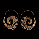 Minimalist Style Gold Plated Flower Hoop Design Earrings