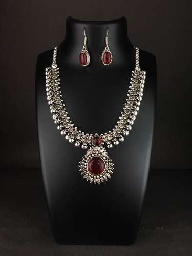 3b4bcf65f Asian Arts German Silver Stone Traditional Necklace Set, Rs 450 ...