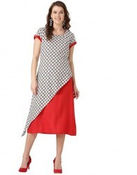Women Red and Off White Geometric A Line Rayon Dress