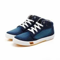 Mens Blue Denim Lace Up Canvas Shoes