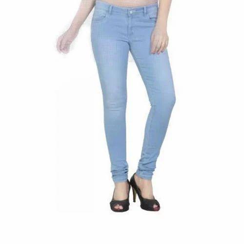 d2539a55c8c Regular Fit Plain Ladies Skinny Fit Light Blue Jeans, Waist Size: 28 And 32