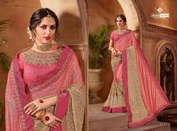 Indian Women Pink And Beige Color Lycra And Net Saree
