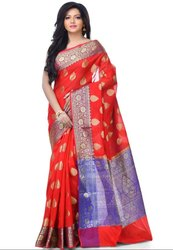 Ceremonial Red Cotton Blend Resham Zari Work Banarasi Saree With Stitched Blouse