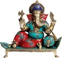 Lord Ganesha Sitting On A Sofa Statue Made In Brass Metal Made Sculpture