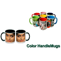 Ceramic Color Handle Mugs, For Office, Packaging Type: Box