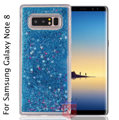 quality design 4afb7 ea014 8d Liquid Bling Glitter Star Case Flowing Liquid With Glitter Star Bling  Hard Galaxy Note 8 Back Cov