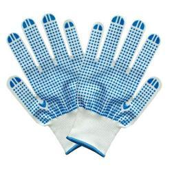 Mallcom Blue And White Dotted Hand Gloves, Size: Medium