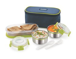 Stainless Steel Blue and Green Magnus Double Decker Lunch Box, For School And Office, Capacity: 1200 Ml