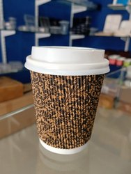 Brown Ripple Paper Cup With Lid, Packet Size: 25 Pcs, Size: 8 Oz