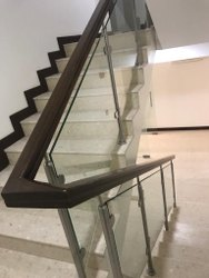 SS Wooden Glass Handrail