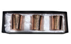 Divine Copper 3 Pcs Copper Gift Set Embossed Glass Pack Of 3, For Drinking Water
