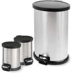 Round Stainless Steel Waste Can Set