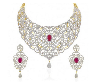 b684cca3ca Ruby Stone Studded Bridal Necklace Set 17613 at Rs 7496 | Fashion ...