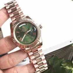 Copper Stainless Steel Rolex Oyster Perpetual Datejust Watch