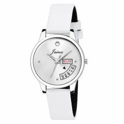 Jainx Day and Date Silver Dial Analog Watch for Women & Girls JW600