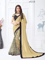 Party Wear Printed Beige Georgette & Net Saree, With blouse piece, 5.5 m (separate blouse piece)