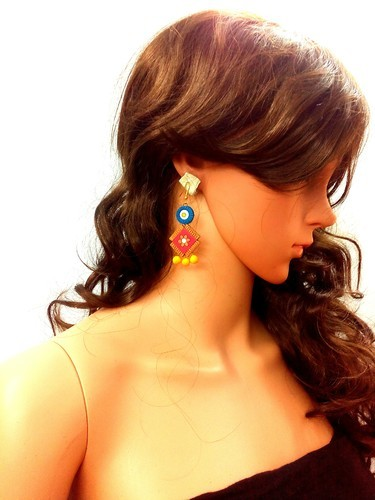 Manmayee Handicrafts Exporters Party Terracotta Jhumkas Makes Exotic Dressing Style