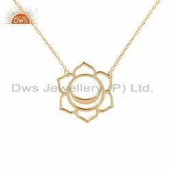 Yellow Gold Plated Designer Plain Silver Svadisthana Chakra Pendant Necklace
