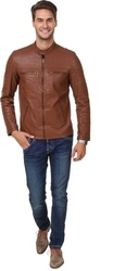 EJEBO Tan Solid Leather Jackets